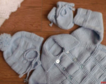 Hand-Made, Hand-Knitted,Baby Boys Vintage Style, Double Breasted, Pram-Set.