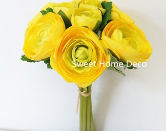 JennysFlowerShop 11'' Silk Ranunculus Artificial Flower Bouquet 9 Stems for Wedding/ Home Decorations Yellow