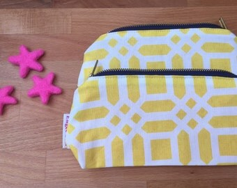 Yellow lattice cosmetic / make up bag