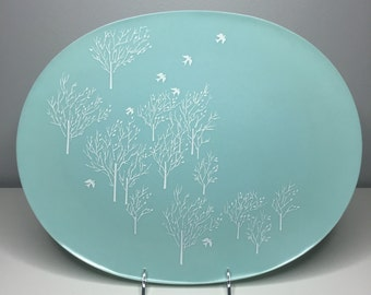 vintage blue serving platter by Lucent Dinnerware, designed by Raymond Loewy