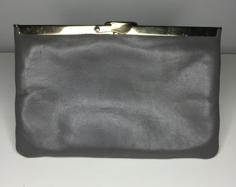 vintage gray leather Etra purse with chain and hinged top