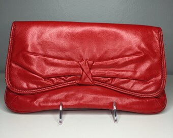 vintage red purse/clutch with bow detail