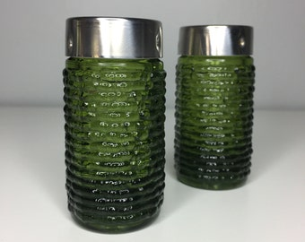 vintage green textured glass salt and pepper shakers