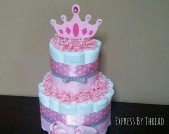 Two tier princess diaper cake, princess crown diaper cake, baby girl diaper cake, baby shower centerpiece, new mom gift