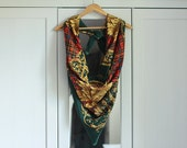 Vintage Shawl Scarf Checked Check Pattern Green Red Black Gold A la Versace Accessories Retro / ACC003