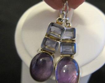 Amethyst Iolite Sterling Silver Earrings  (105)