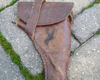 Vintage Leather Holster   Hand Stitched Tooled Buck Deer   Vintage Western Gun Holster   Cowboy Holster   Gun Collector   Hand Made Holster