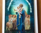 Handmade card, gold foil, 3D Thinking of you, Madonna & Child, Catholic art, by Sandra Lubreto Dettori