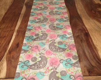 pink and blue floral with grey scroll bird table runner