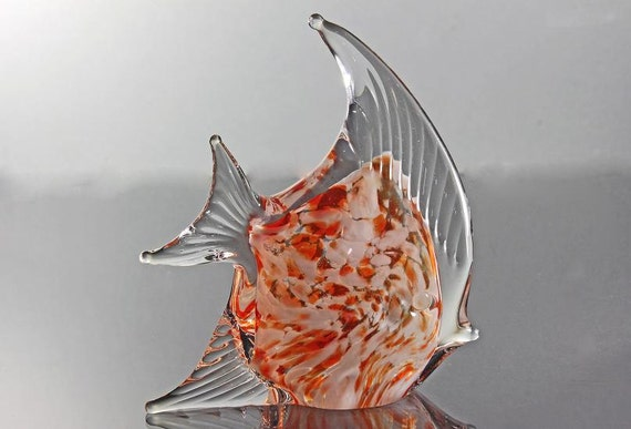 Fish Art Glass, Paperweight, Figurine, Angel Fish, Orange and White, Collectible Paperweight