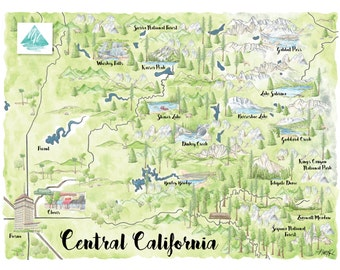 Kings Canyon National Park, Sequoia Forest Hand Drawn Map | California Wall Art Watercolor Print | Fresno, Sierra Forest, Dinkey Creek  8x10