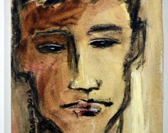 """Title """"Portrait Of A Boy 2"""" Oil On Canvas Neo Expressionism Modern Abstract Figurative Original painting by Vantuan"""
