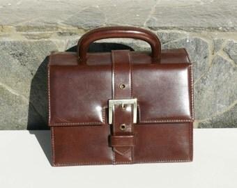 Old Dark brown Evening Bag Vintage Purse Clutch Handbag, Dark brown Leatherette,Evening Bag, Brown purse vintage classic bag/ Retro purse