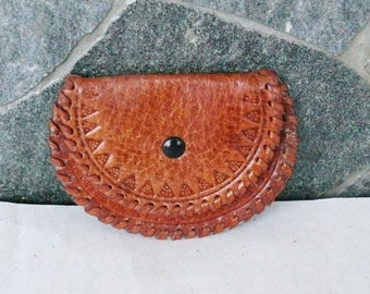 Vintage Leather coin purse - Genuine leather case - Leather coin pouch - Orange Brown