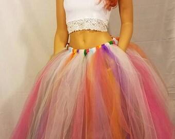 Adult Long Rainbow Tutu Skirt