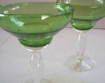 Handblown Green Margarita Glasses – Set of Two