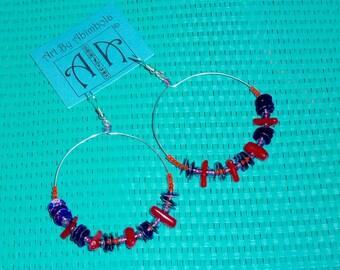 Beaded hoop earrings in various colours