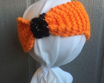 Knit Headband--Knitted Headband--Baby Headwrap--Baby Headband--Knit Baby Headband--Halloween--Orange & Black--Halloween Headband