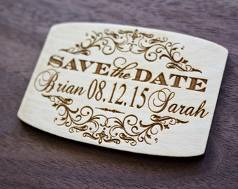 Save the Date Wooden Magnets, Laser Engraved, Wood Save-The-date Magnet, Personalized Wedding magnet, Rustic Save-the-Date, Backyard Wedding