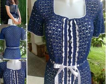 Bleu élégant crochet chemisier - Kate Middleton / Crochet / sur commande