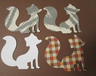 "24-2.5"" White, Gray and White or Fall Plaid Fox Die Cuts-Fall Die Cuts-Christmas Die Cuts"