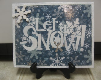 Christmas Decorations-Christmas Decor-Let It Snow Picture-Winter Decor-Christmas Wall Decor