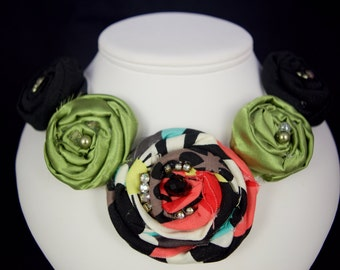 Vintage Fabric Flowers and Jeweled Necklace