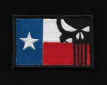 Texas Flag with Punisher Skull Velcro Morale Military Patch - Full Color