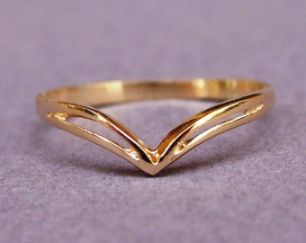 Gold Ring, Chevron Ring, V Ring, Band Ring, Delicate Ring, Yellow Gold Ring, Gold Plated Ring