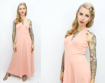 Vintage 70's Halter Maxi Dress / 1970's Pink Peach Dress / Women's Size XS/Small