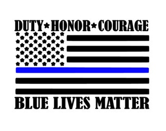 Blue Lives Matter Americal Flag Decal, Police Officer Decal, Duty Honor Courage