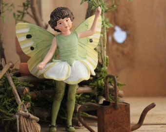 May Fairy with Rustic Watering Can and Handcrafted Garden Tools , Fairy's Work by Olive* Miniatures ~  Handcrafted by Olive
