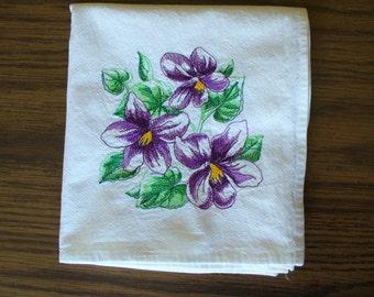 Violets on a Flour sack Dishtowel