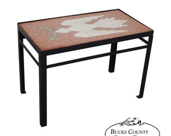 Studio Crafted Iron Side Table W/ Inlaid Bird Of Peace Dove Marble Top