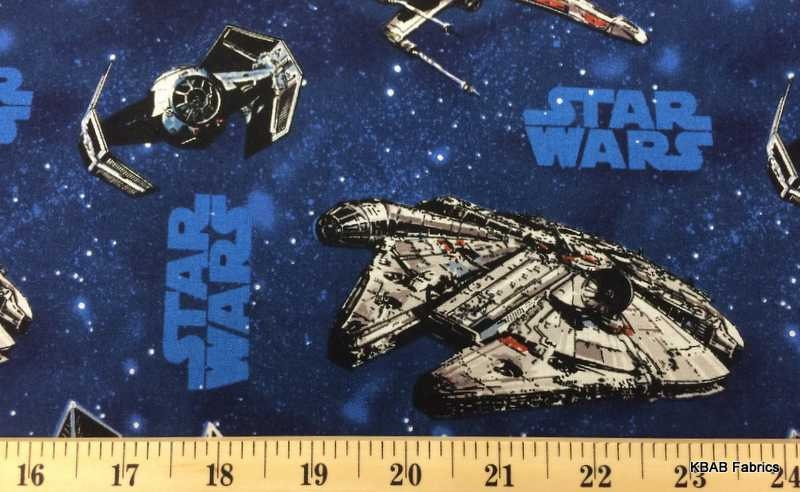 Star wars fabric spacecraft space ships universe blue for Space mission fabric