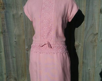 Pink 1960s lace detail Shift Dress