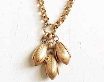 1970s / Early 80s Flower Bud Pendant Necklace