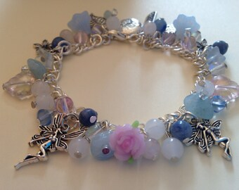 Healing bracelet with semi precious stones , fairy charms and czech glass beads, fairy charm bracelet ,