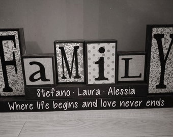 Family wood sign, Personalized Family wood blocks, Custom last name blocks , wooden blocks, Family blocks, home decor blocks, christmas gift