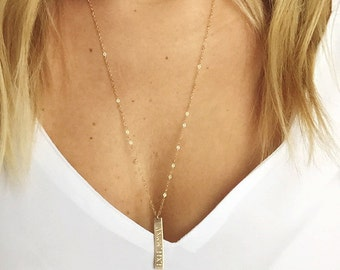 Vertical Bar Necklace/ Personalized bar necklace / Personalized Vertical bar 14k Gold filles /Sterling Silver