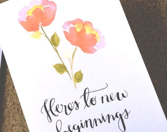 Here's to New Beginnings Card (Gold Foil)