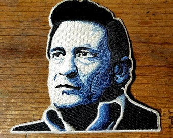 "Iron On ""Johnny Cash"" Embroidered  Patch 3 1/4''X3 1/4''"