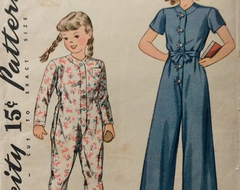Simplicity 3493 girls one-piece pajamas size 1 vintage 1940's sewing pattern