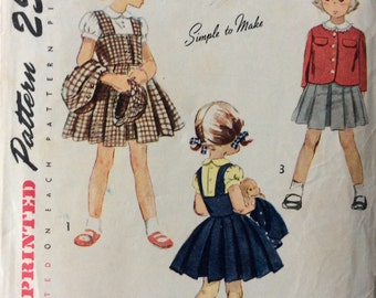 Simplicity 3116 girls jumper, blouse, jacket and hat size 1 vintage 1940's sewing pattern