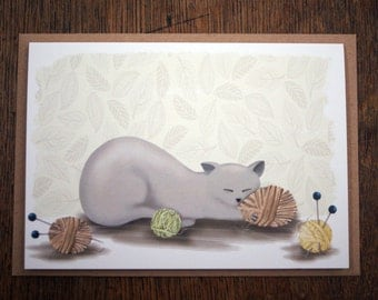 Cat Sleeping Illustrated Greeting Card Knitting Wool Pattern A6