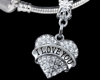 I love you charm fits european style bracelets and necklaces I love you jewelry I love you gift gift for the one you love