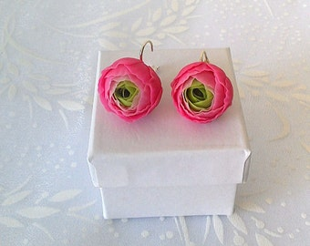 "Earrings ""Ranunculus""- Pink ranunculus flower earring-Pink jewelry-Clay flower jewelry-Floral earrings"