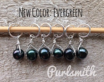 Evergreen Freshwater Pearl & Sterling Silver Stitch Markers for Knitting,Set of 6,Knitting Notions, Gift for Knitter