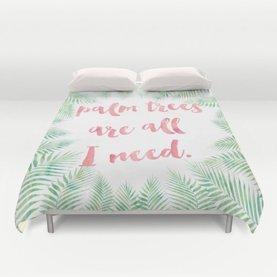 Palm Tree Duvet Cover Palm Leaf Print Duvet Covers Green Pink