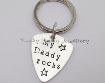 My Daddy rocks keyring - guitar pick keyring - plectrum keychain - gift for Daddy - Gift from children to Daddy - stocking filler - Father
